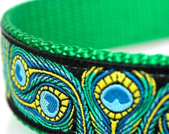 Peacock Feathers Dog Collar, 1 inch width, Big Dog Collar, Colorful Ribbon Pet Collar, Adjustable