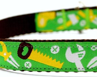 Handyman Dog Collar, Tool Dog Collar, Dad Dog Collar, Adjustable Dog Collar, Green Dog Collar, Carpenter Dog Collar
