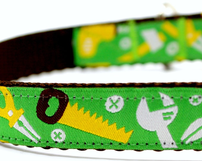 Handyman Dog Collar, Tool Dog Collar, Dad Dog Collar, Adjustable Dog Collar, Green Dog Collar, Carpenter Dog Collar