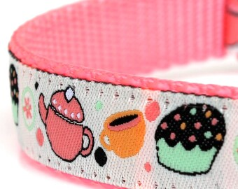 Tea Time Dog Collar, Cupcake Ribbon Adjustable Pet Collar, Girl Dog
