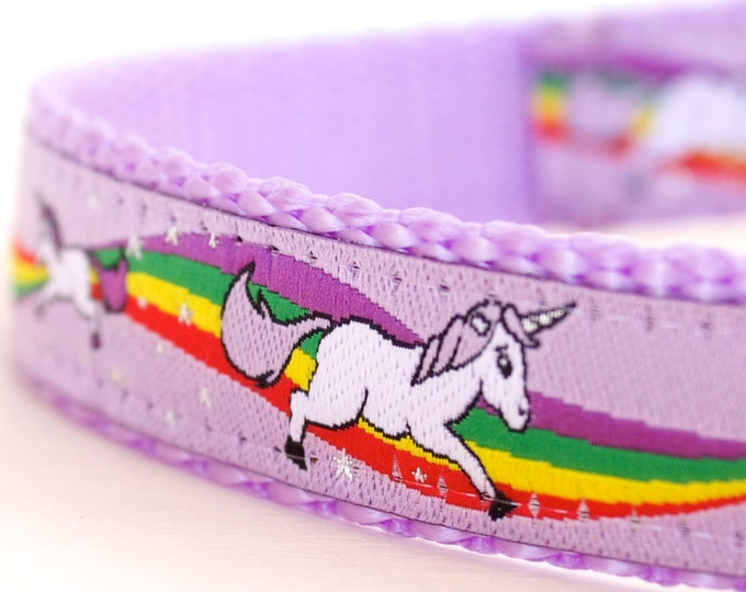 Magical Unicorns Dog Collar, Lavender Dog Collar, Rainbow Pet Collar, Girl Adjustable Ribbon Collar