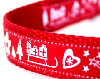Christmas Dog Collar, Christmas Themes Dog Collar,  Ribbon Dog Collar, Holiday Dog Collar