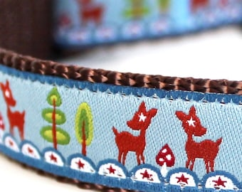 Deers and Stars Dog Collar, Forest Friends, Blue Dog Collar, Adjustable Ribbon Pet Collar