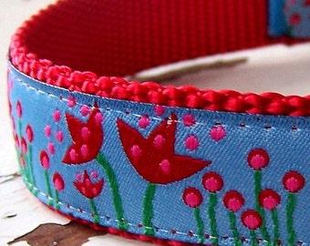 Red Tulip Dog Collar, Adjustable Pet Collar, Ribbon, Spring Dog Collar,  Flower, Floral