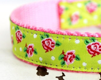 Shabby Chic Roses Dog Collar  in Lime Green and Pink Roses , Adjustable Pet Collar, Ribbon Dog Collar