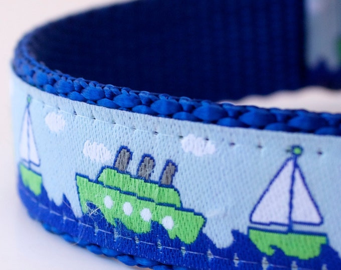 Ocean Boats Dog Collar, Blue Dog Collar, Nautical Pet Collar, Sailor Dog Collar