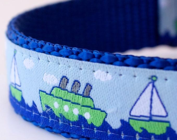 Ocean Boats Dog Collar, Blue Dog Collar, Nautical Pet Collar, Sailor Dog Collar