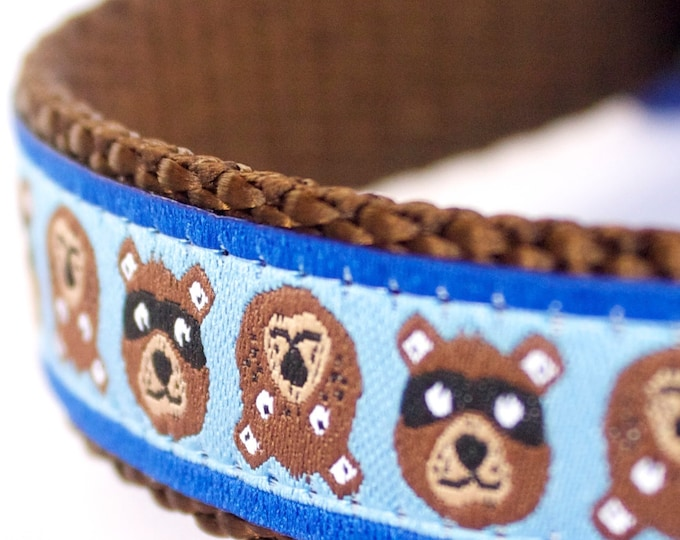 QUICK SHIP Brown Bear Dog Collar, Adjustable Ribbon Pet Collar, Blue, Woodland Friends