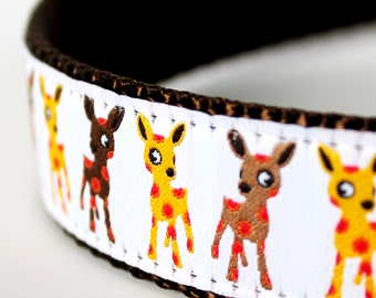 Polka Dot Deer Dog Collar White ribbon  / 1 inch width / Big Dog Collar