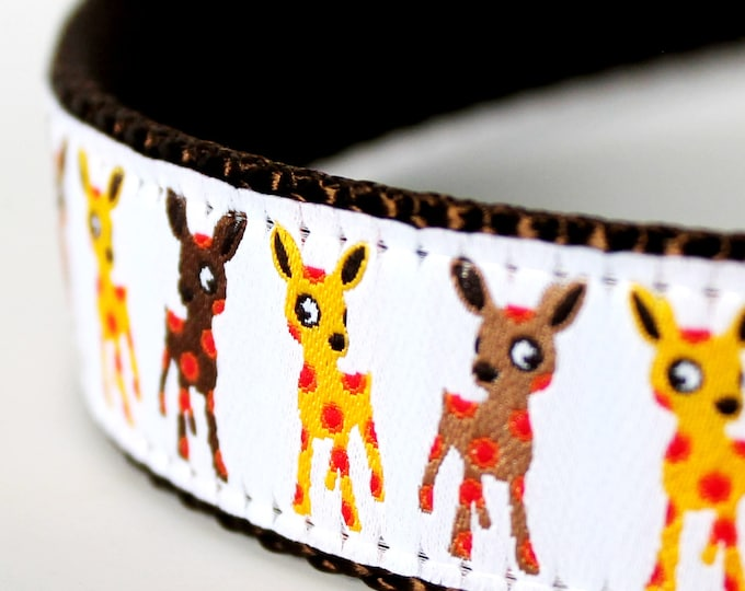 Polka Dot Deer Dog Collar White ribbon  / 1 inch width / Big Dog Collar