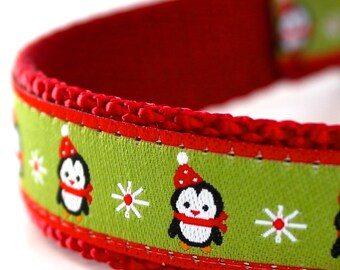 Green Penguin Holiday Dog Collar, Ribbon Dog Collar, Adjustable, Christmas Dog Collar