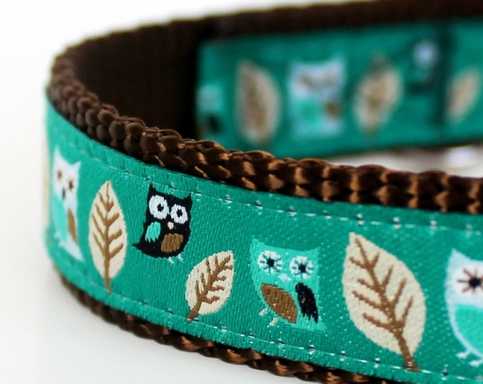 Owl Dog Collar in Teal Green, Hootie Owl Pet Collar, Adjustable Ribbon Dog Collar, Forest Dog Collar