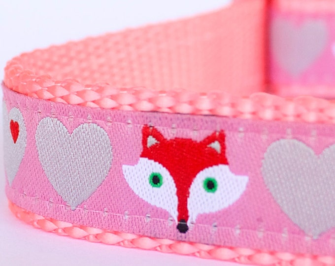 Fox and Hearts Dog Collar, Pink, Adjustable Pet Collar, Forest Friends Pet Collar, Girl Dog Collar