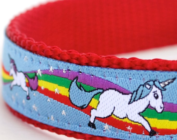 Magical Unicorns Dog Collar, Blue Dog Collar, Rainbow Pet Collar,Glitter Dog Collar, Adjustable Ribbon Collar