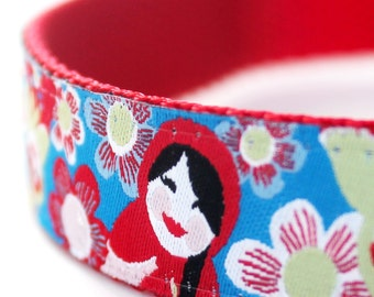 Matryoshkas and Flowers Dog Collar,  Adjustable Dog Collar, Ribbon Dog Collar