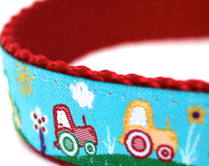 Harvest Time Dog Collar, Adjustable, Tractor Boy Pet Collar
