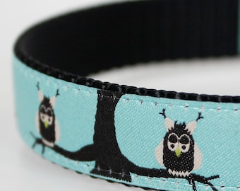 Owls in Trees Dog Collar,  Adjustable,  Ribbon Dog Collar, Woodland Friends, Blue Pet Collar