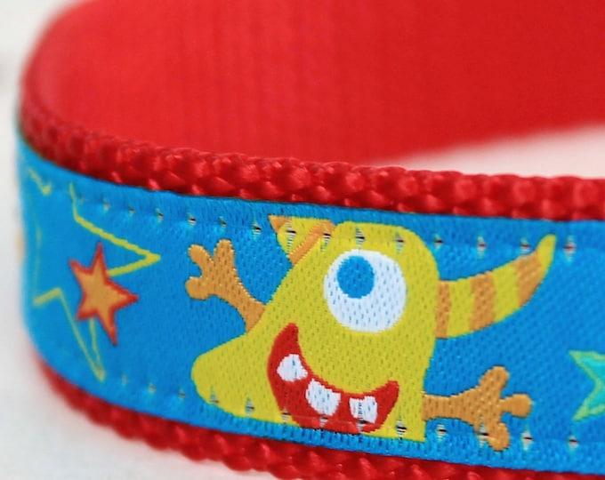 Funky Monsters Dog Collar, Fun Dog Collar, Aliens Blue Pet Collar