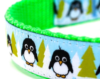 Arctic Penguin Dog Collar,  Blue,  Adjustable, Holiday Christmas Pet Collar
