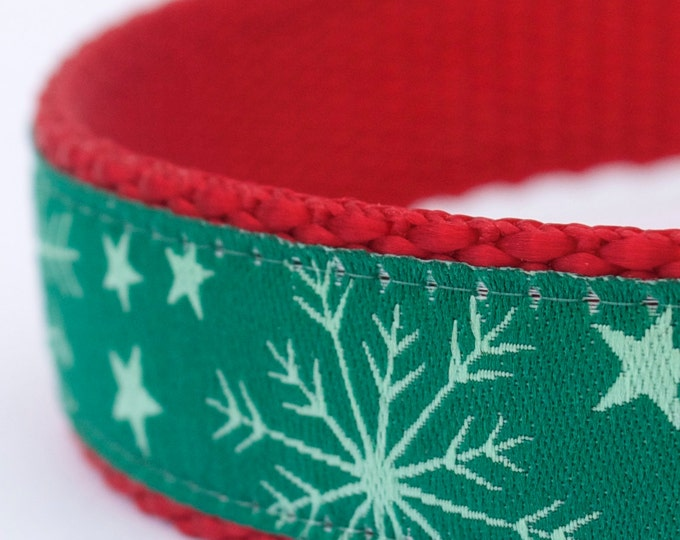 Green Snowflake Dog Collar, Holiday Pet Collar, Winter Dog Collar, Christmas Dog Collar