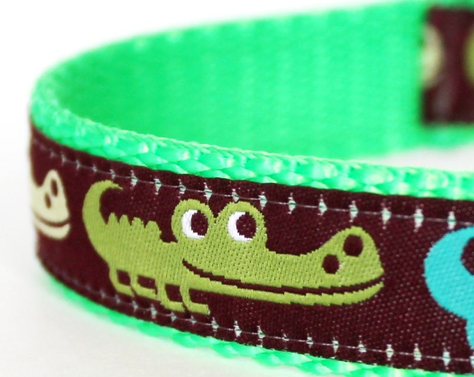 Alligator Dog Collar, Crocodile, Adjustable Ribbon Pet Collar, Adventure Dog Collar