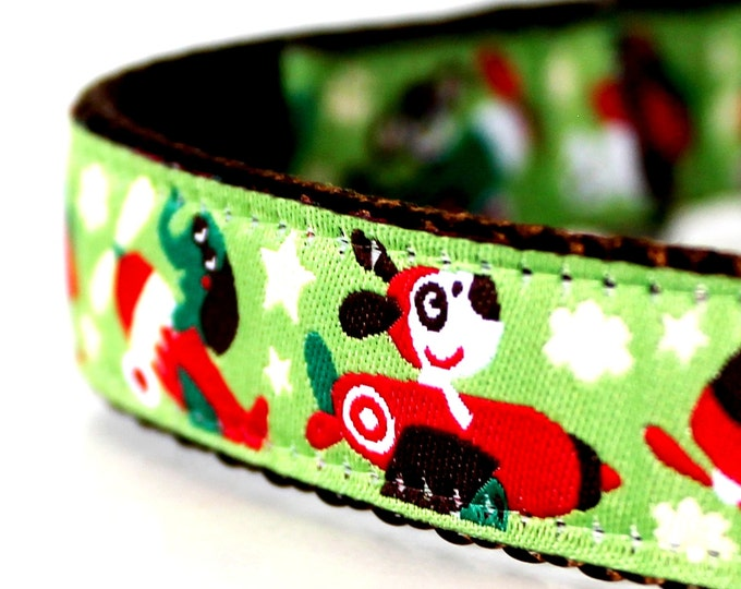 Animals in Flight Dog Collar, Green Pet Collar, Monkey Dog Collar, Airplanes, Planes