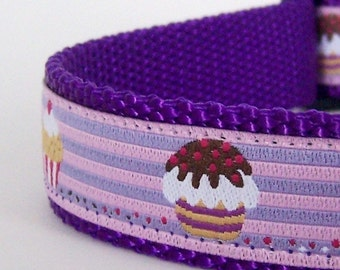 Purple Cupcakes Dog Collar, Adjustable,  European Ribbon collar, Muffins Pet Collar