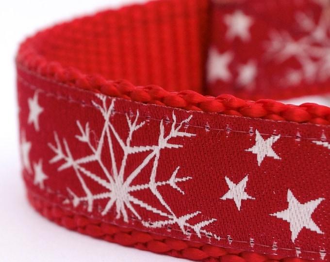 Red Snowflake Dog Collar, Holiday Pet Collar, Winter Dog Collar, Christmas Dog Collar, Festive