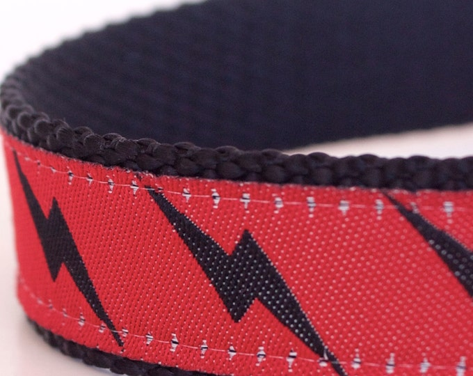Lightning Bolt Dog Collar, Superhero Pet Collar, Red Dog Collar, Adjustable Ribbon Dog Collar