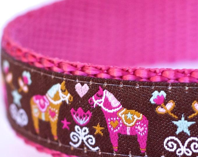 Dala Horses on Brown Dog Collar, Swedish Dog Collar, Ribbon Adjustable Collar