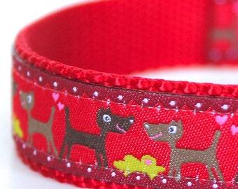 Dogs on Red Dog Collar,  Ribbon Dog Collar,  Adjustable Dog Collar
