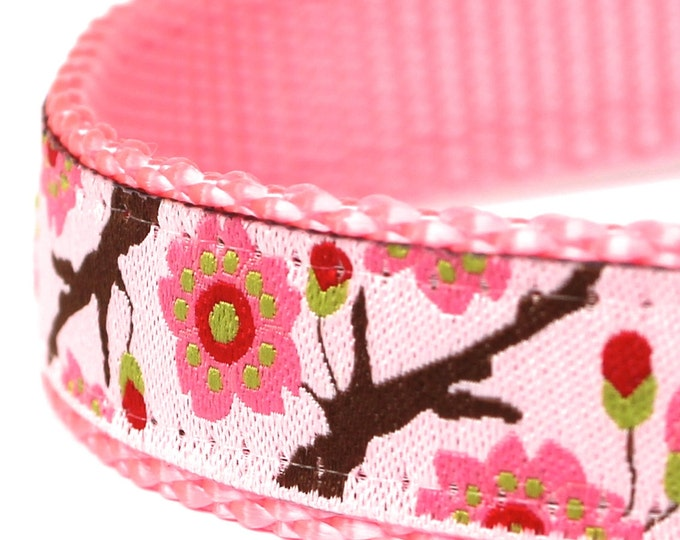 Pink Cherry Blossom Dog Collar, Floral, Garden Spring Pet Collar, Flowers