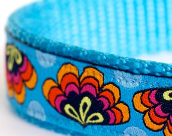 Fans on Blue Dog Collar, Ribbon Adjustable Dog Collar, Colorful Dog Collar, Boho chic