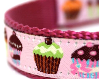 Colorful Cupcakes Dog Collar, Pink Girl Dog Collar, Adjustable Pet Collar