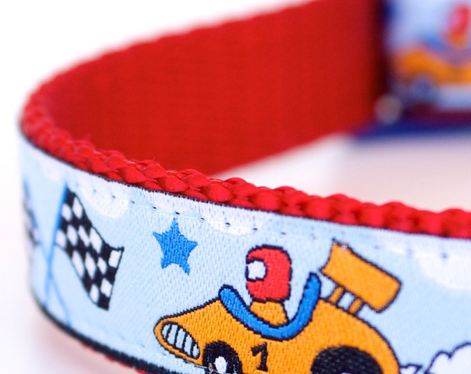 Race Cars Dog Collar, Adjustable Ribbon Pet Collar, Auto Dog Collar, Blue Dog Collar