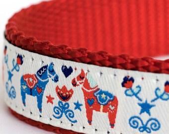 Dala Horses on White Dog Collar, Cute Swedish Dog Collar, Ribbon Adjustable Collar