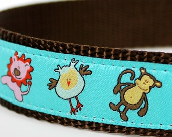 Jungle Friends Dog Collar  / 1 inch width for big dogs