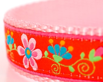 Pretty Gardens Dog Collar, Red Pet Collar, Flower Dog Collar, Girl Floral Collar