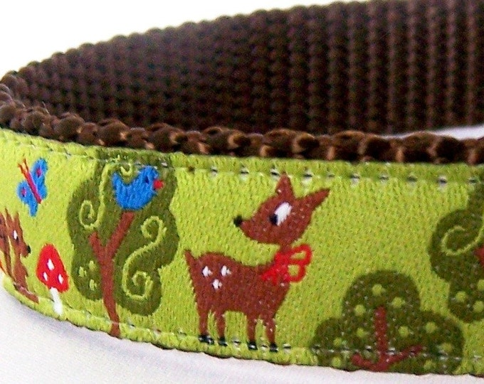 My Forest Friends Dog Collar, Adjustable Deer, Squirrel, Butterfly Pet Collar