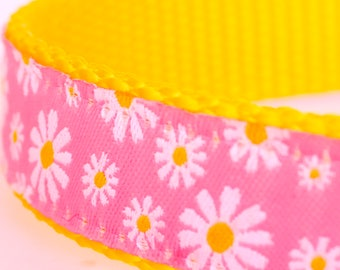 QUICK SHIP Pink Daisy Dog Collar, Girl Pet Collar, Adjustable Ribbon Dog Collar, Floral, Spring, Summer Dog Collar