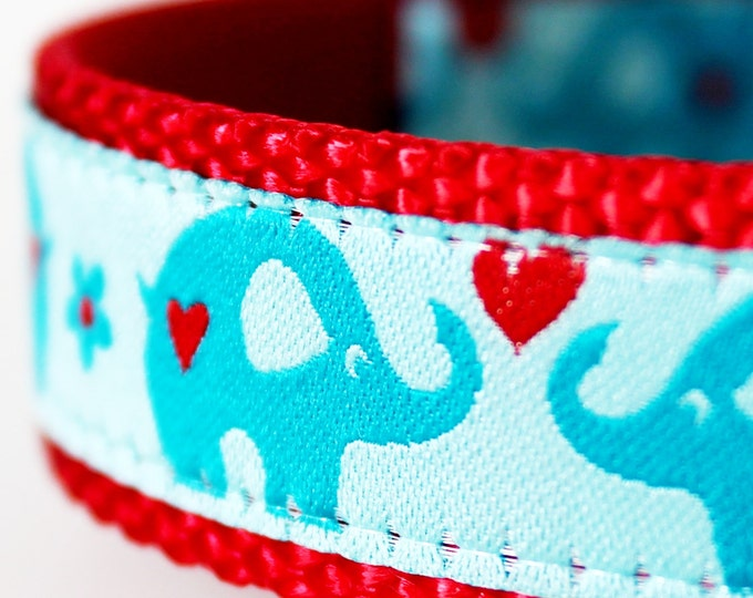 Elephant Love Dog Collar, Adjustable Dog Collar, Valentine Dog Collar, European Ribbon