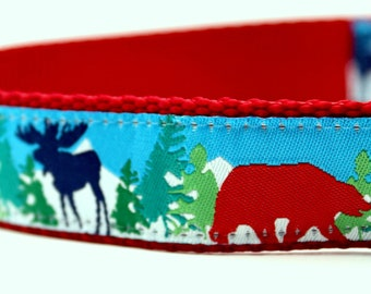 Red Bear Navy Moose Dog Collar, 1 inch width, Big Dog Collar, Adjustable Pet Collar, Winter Collar, Mountain Collar
