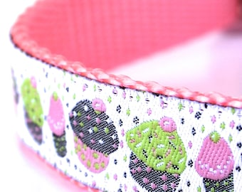 Sprinkle Cupcakes Birthday Dog Collar, Pink muffins European woven ribbon dog collar
