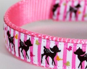 Pink Deer Dog Collar, Stripes, Forest Deer, Girl Dog Collar, Adjustable Pet Collar