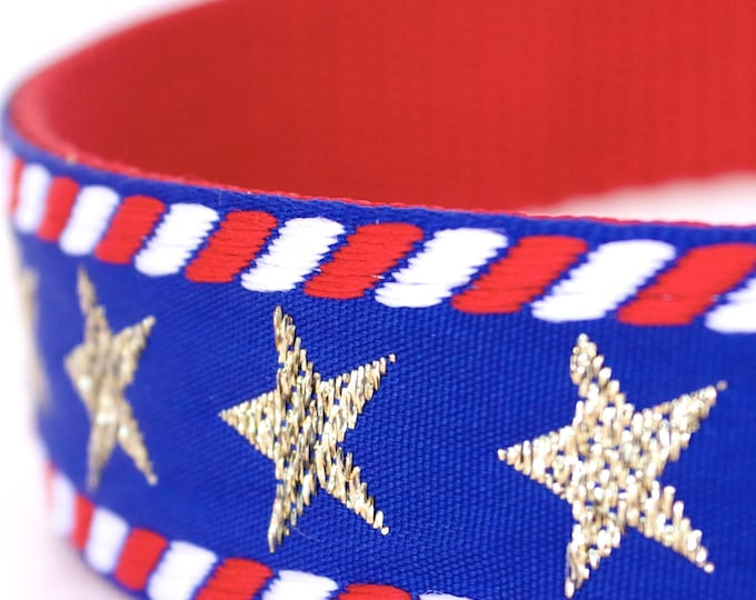 Gold Stars and Stripes Dog Collar, 1 inch width Pet Collar, Big Dog, Patriotic Collar, July 4th