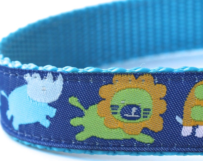 QUICK SHIP Jungle Babies Dog Collar, Ribbon Adjustable Pet Collar, Blue Boy Pet Collar