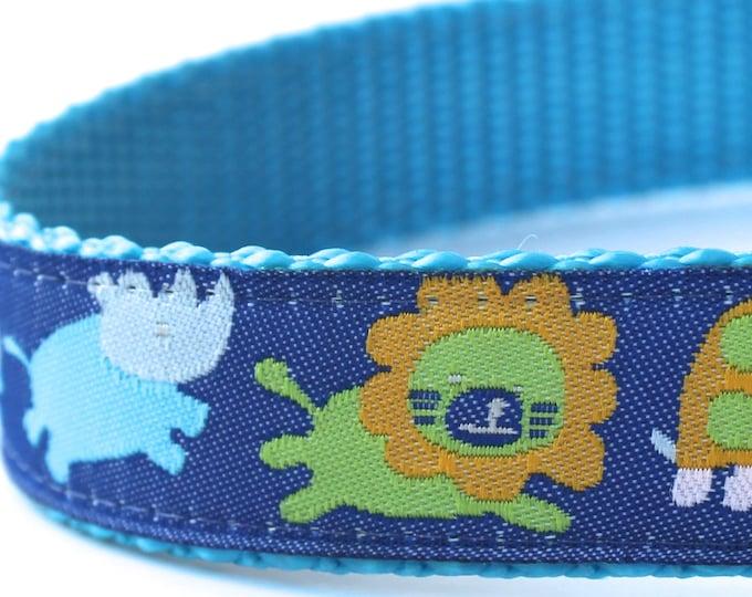 Jungle Babies Dog Collar, Ribbon Adjustable Pet Collar, Blue Boy Pet Collar