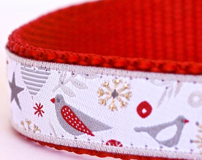 Partridge Holiday Dog Collar, Ribbon Dog Collar, Adjustable, Christmas Dog Collar, Snowflakes