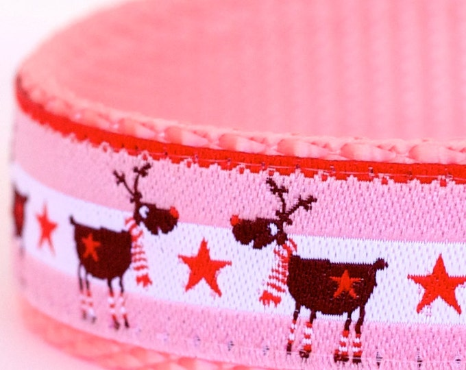 Winter Deer Dog Collar, Pink Pet Collar, Holiday Christmas Collar, Reindeer Dog Collar