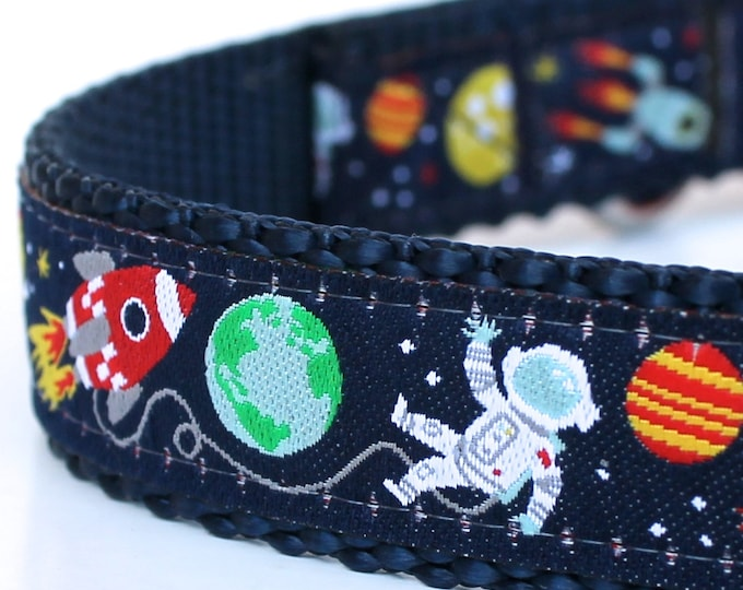 Space Adventures Dog Collar, Rocket Astronaut Pet Collar, Aliens Adjustable